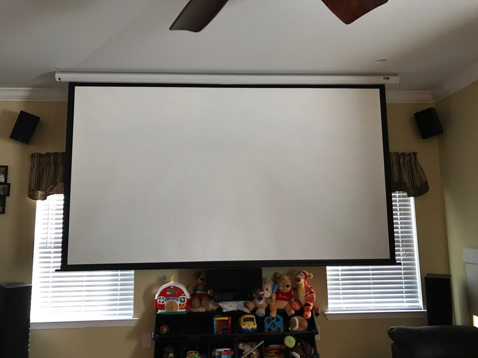 Homegear 120 inch electric bargain avs forum home for Motorized home theater screen
