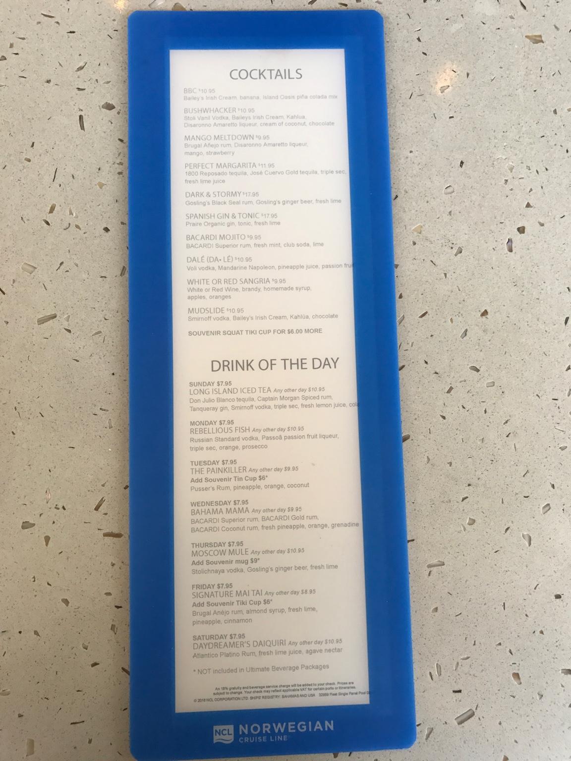 NCL Breakaway Drinks and menus! - Norwegian Cruise Line