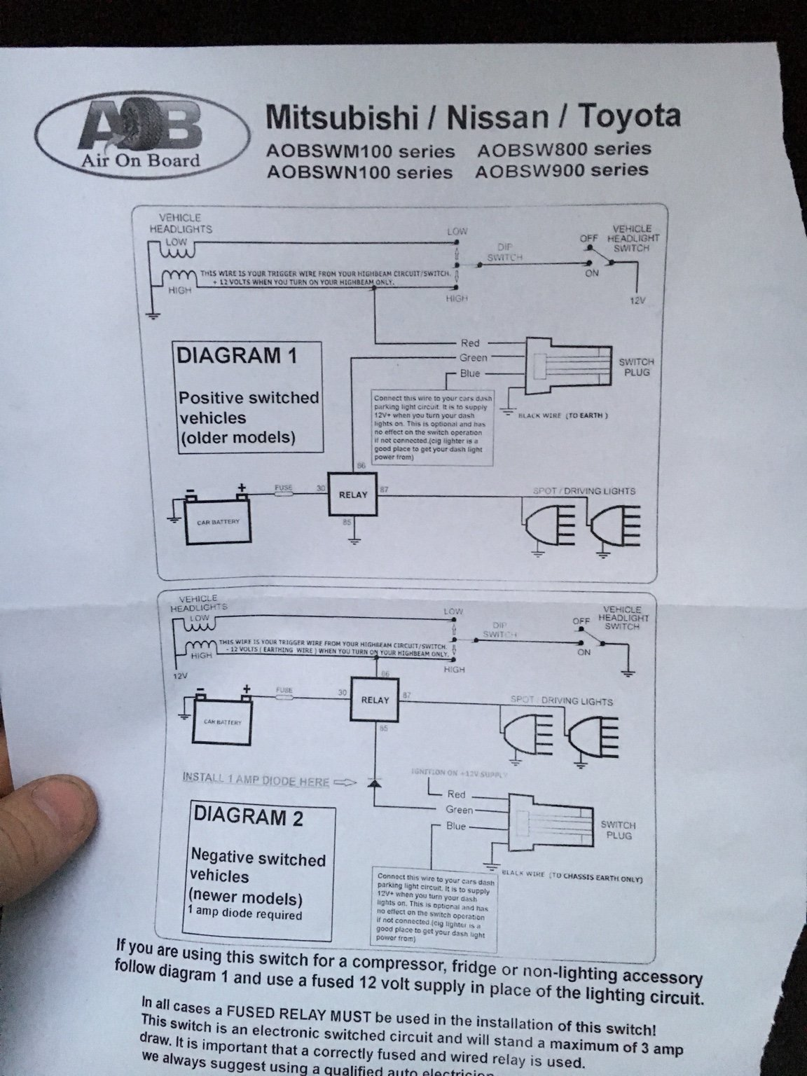 Consolidated Lighting Info Thread Page 9 Toyota 4runner Forum Rigid Wiring Diagram How Do I Wire My Light Bar To This Aob Switch Says Need A Diode Any Help Appreciated