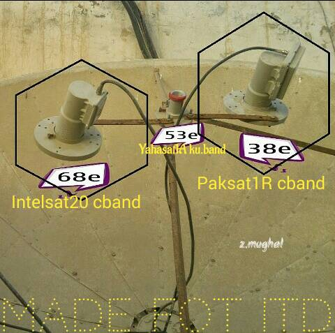 Please share Dish photo if you set Paksat and Intelsat 20 in one Dish