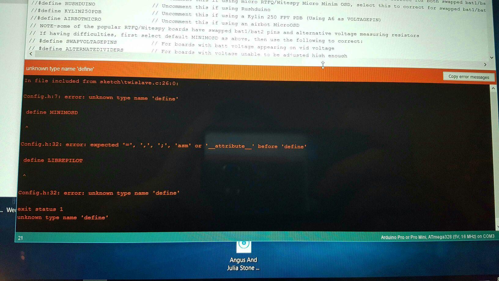Kv team minimosd (not micro) problem  Waiting for mavlink