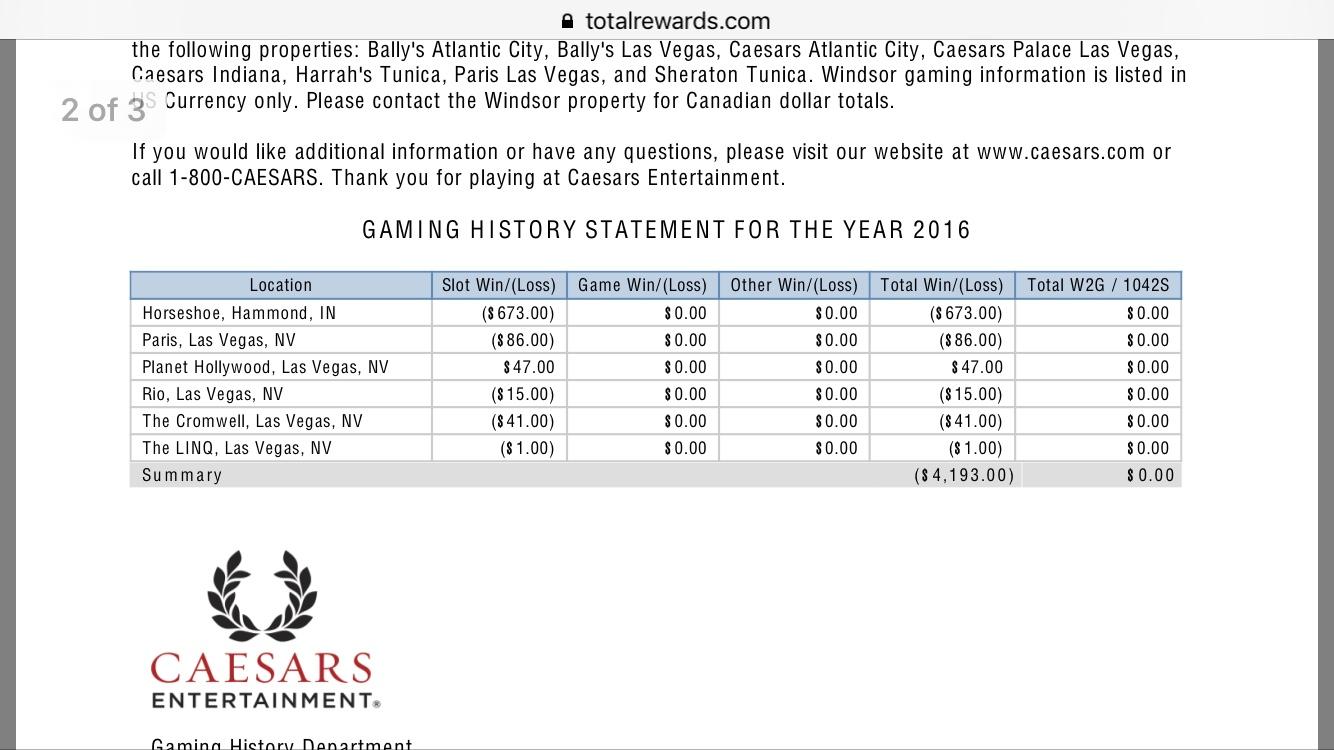 argosy casino win loss statement