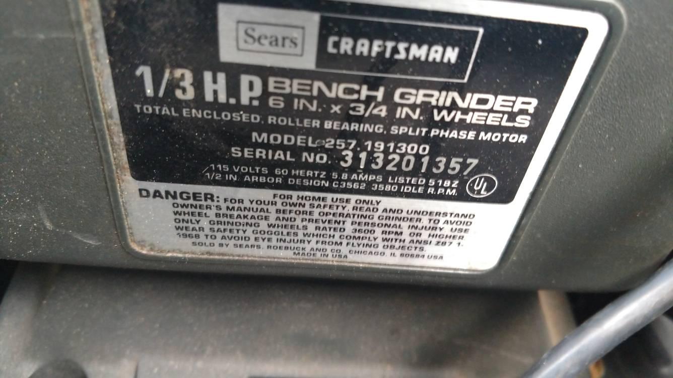 Stupendous Craftsman Bench Grinder 1 3 Hp Cheap Calguns Net Beatyapartments Chair Design Images Beatyapartmentscom