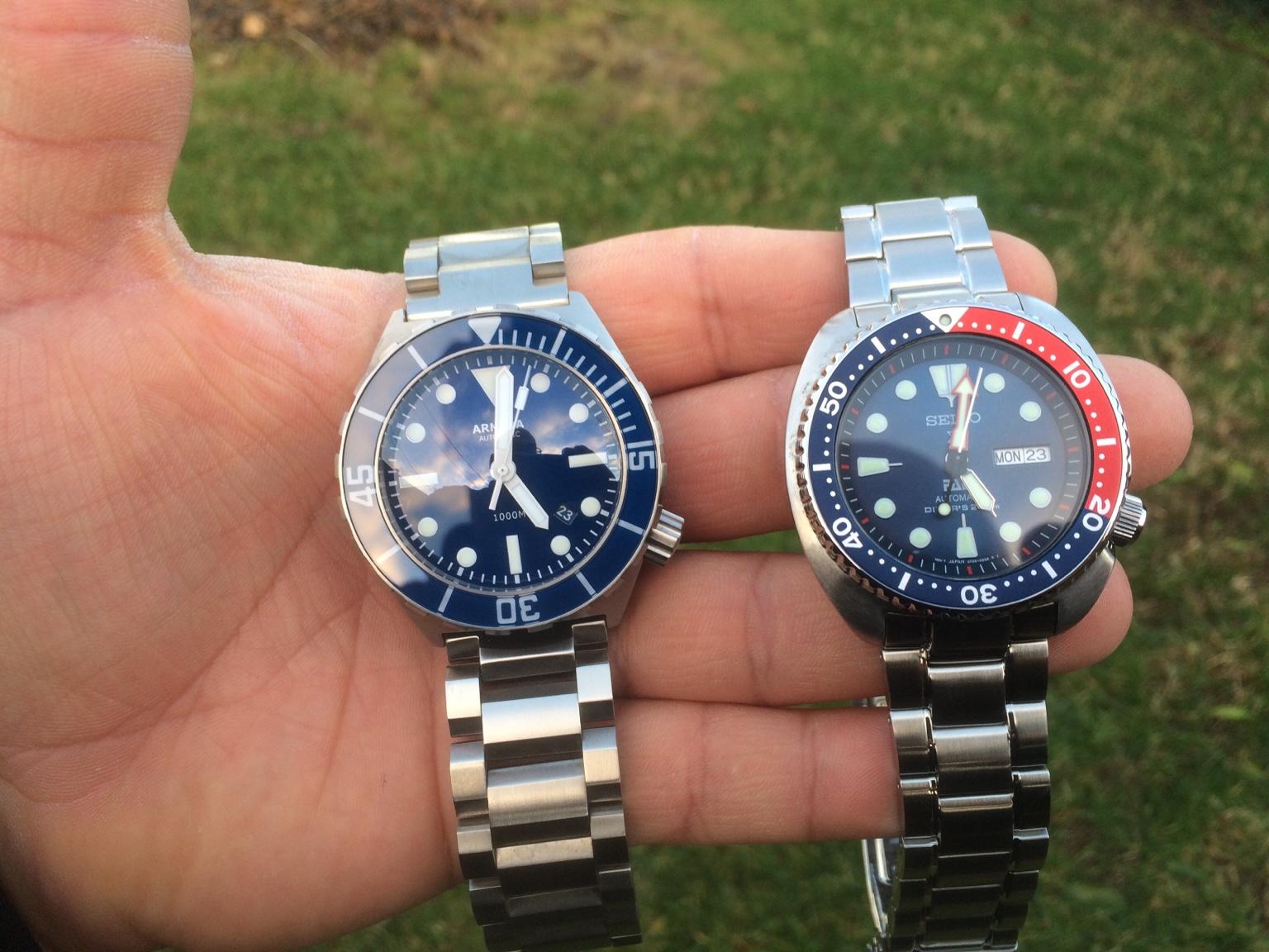 blue 42mm Armida A1 dive watch