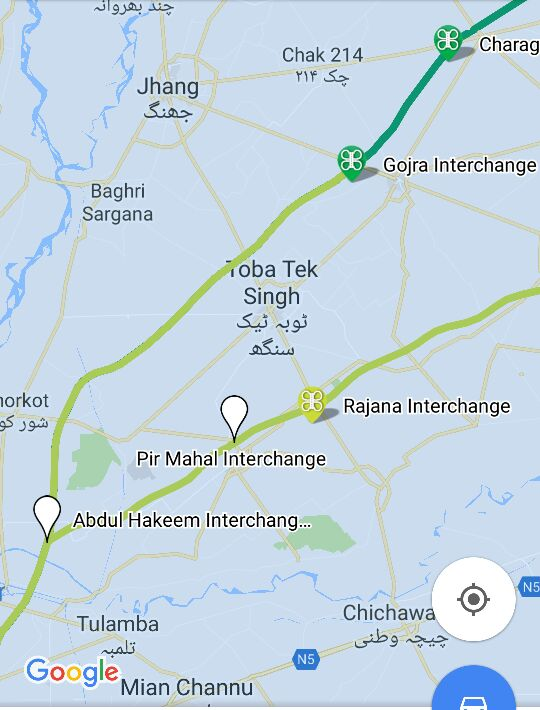 PUNJAB Lahore Abdul Hakim Motorway M Infrastructure U - Pir mahal map