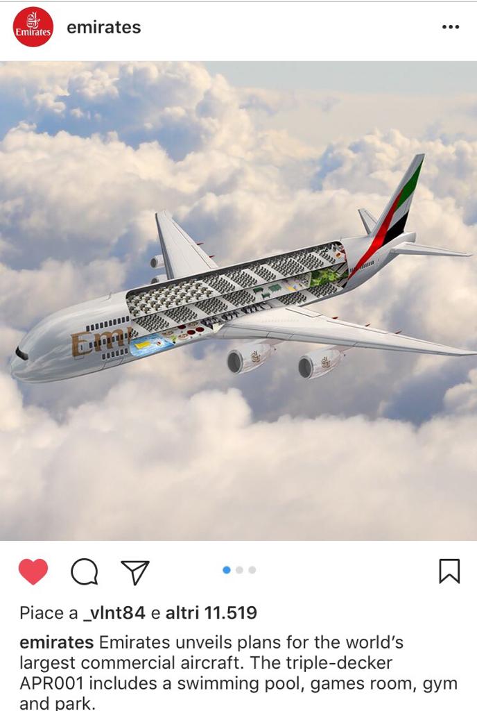 Emirates svela il progetto di un aereo a tre piani apr001 for 1 1 piani a 2 piani