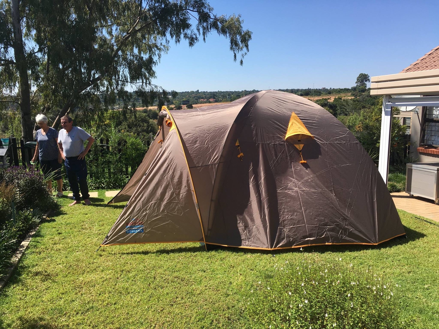 It took me about 30 mins to set up and the main problem was trying to get the flysheet over the 2m dome (I am only 1.63m)...grins. & Bushtec Adventure Goshawk