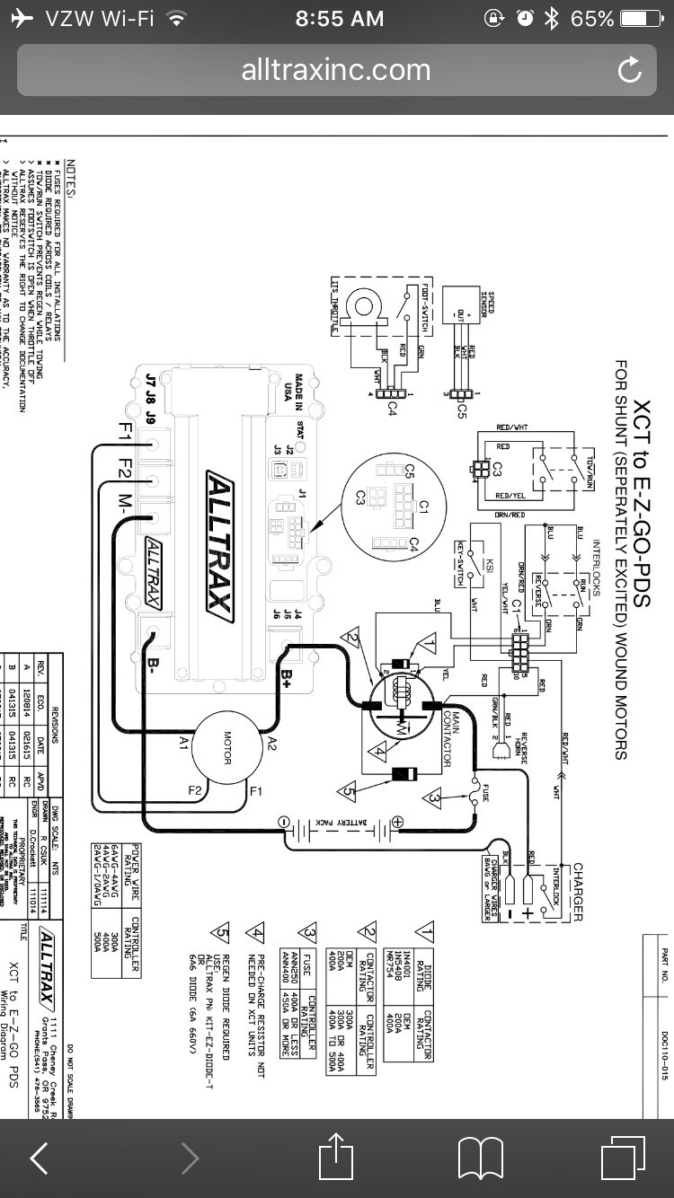 alltrax xct pds install question on the old controller the a2 wire goes to the solenoid but in the new diagram it shows it going directly to the b on the alltrax controller