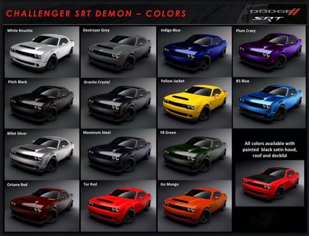 2018 dodge charger scat pack. simple pack fca released this color chart for the 2018 demon and thinking these colors  will be available on chargers in 2018 with dodge charger scat pack