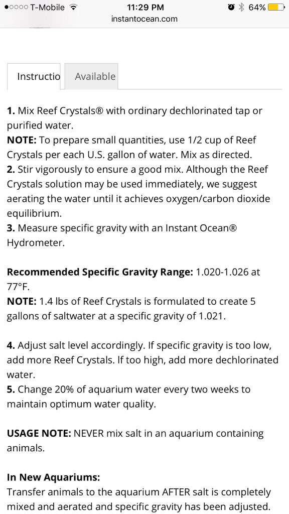 instant ocean hydrometer. instructions from instant ocean, no where does it state that 1/2 cup should measure 1.026. although say 1.4lbs in 5 gallons yield 1.021 ocean hydrometer