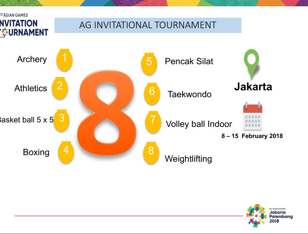 Jakarta palembang 2018 asian games xviii asiad page 60 schedule for test event medal design invitation tournament stopboris Gallery