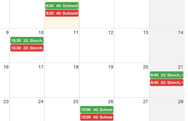 fullcalendar vs  calendar color of 2nd event wrong | Fabrik