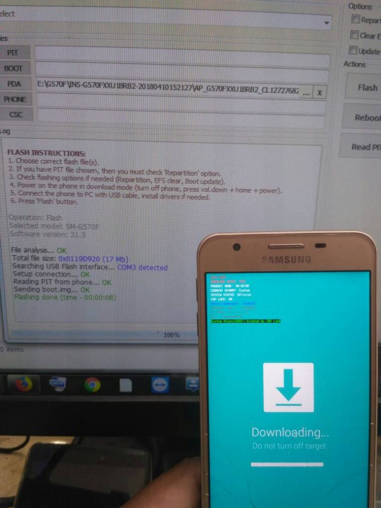 Samsung G570f custom binery block by frp