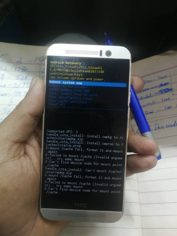 HTC ONE M9 OPJA200 after flash non official firmware imei and