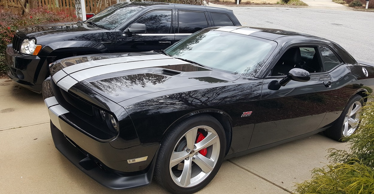 for sale 2012 dodge challenger srt8 pitch black w silver stripes auto raleigh nc. Black Bedroom Furniture Sets. Home Design Ideas
