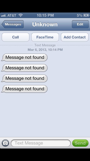 Test Message From Unknown With Message Not Found Iphone Ipad Ipod Forums At Imore Com