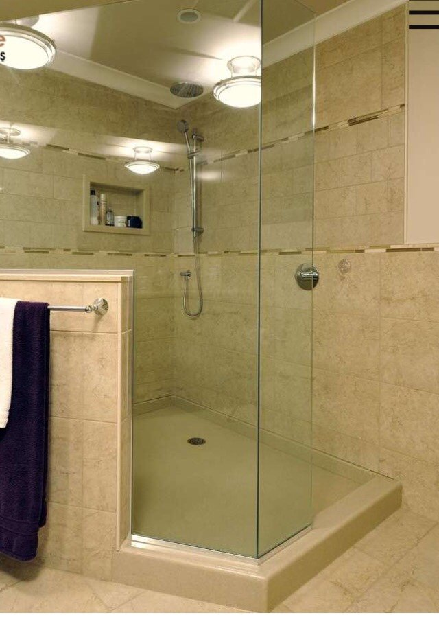 Acrylic Shower Base With Half Wall