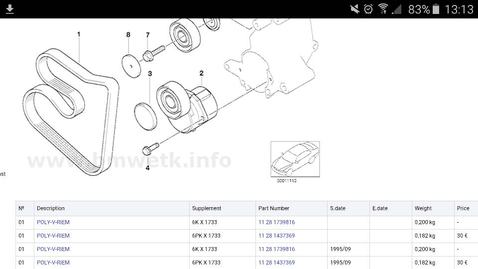 engine code is m44b19 but you need to check vin number to be sure  it it is  m44 you need this v-belt