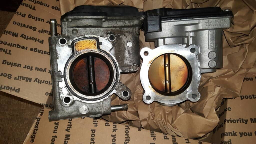 upon disassembling the two throttle bodies, it would seem that the  electromagnetic position sensor that tells the angle of the throttle plate  is oriented