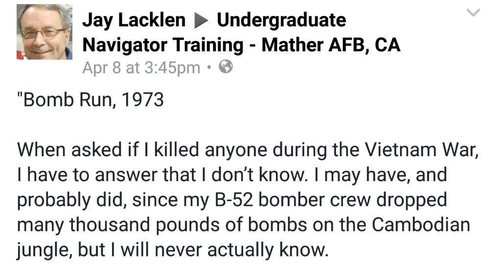 Memoirs of B-52 Bomber Pilot Jay Lacklen (Vietnam War 1973