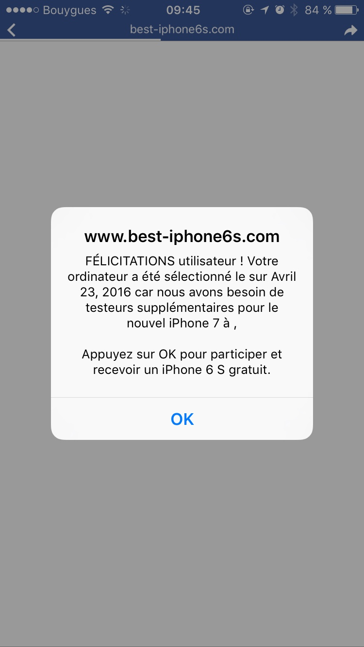 R solu spam et fen tre intempestive sur iphone 6 help for Fenetre intempestive