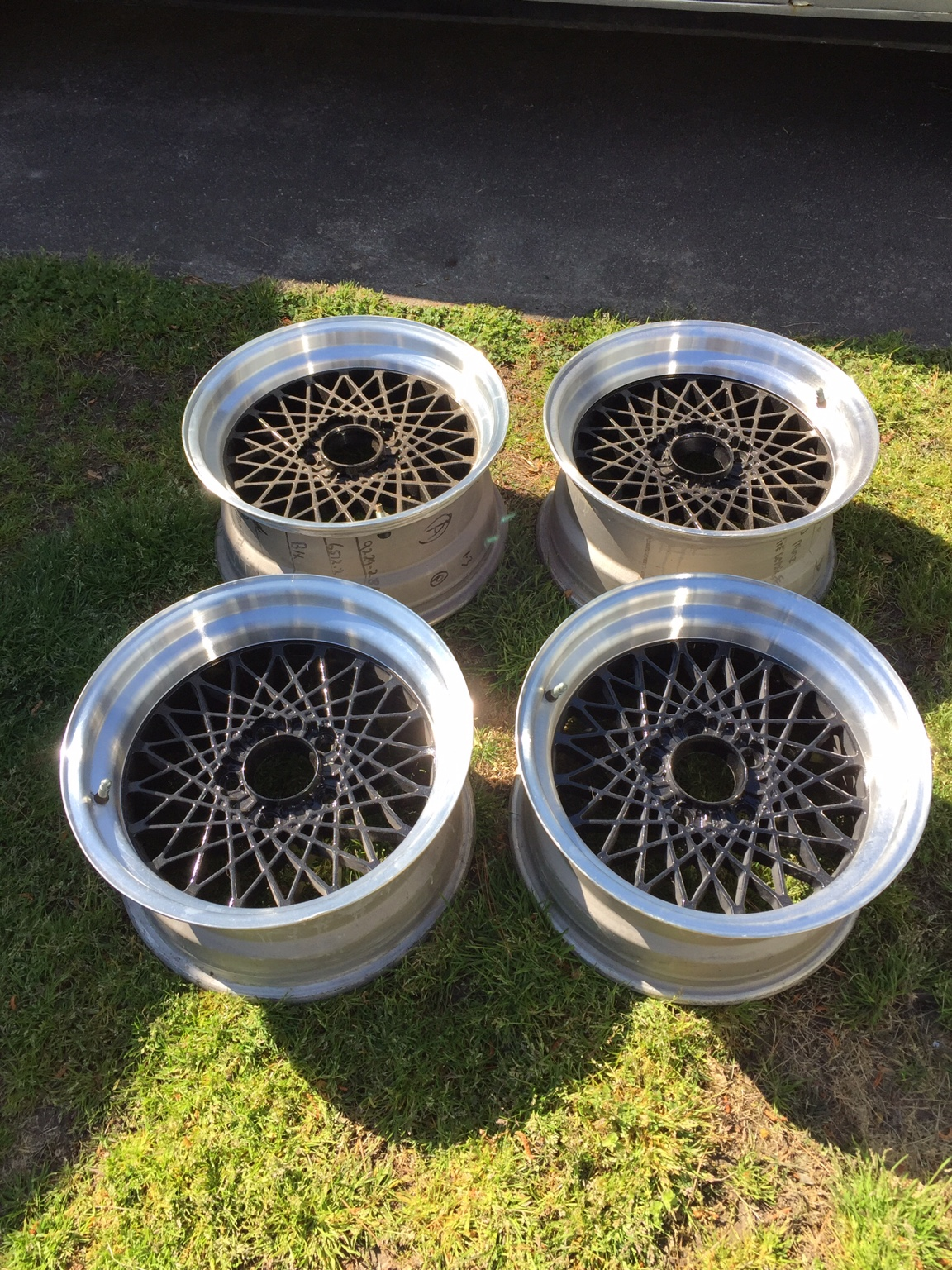 Wheels are 16x8 with offsets of +16 front and 0 rear. Center are black and lips are machined ...