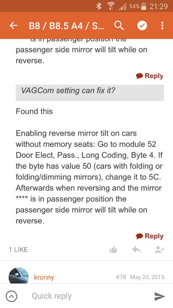 Passenger Tilting Reverse Mirror not Returning Properly | Audi-Sport net