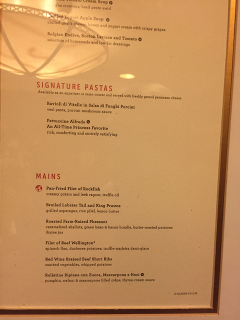 Looking For 2016 Ruby Princess Alaska Cruise Dining Room Menu Copies Cruise Critic Message