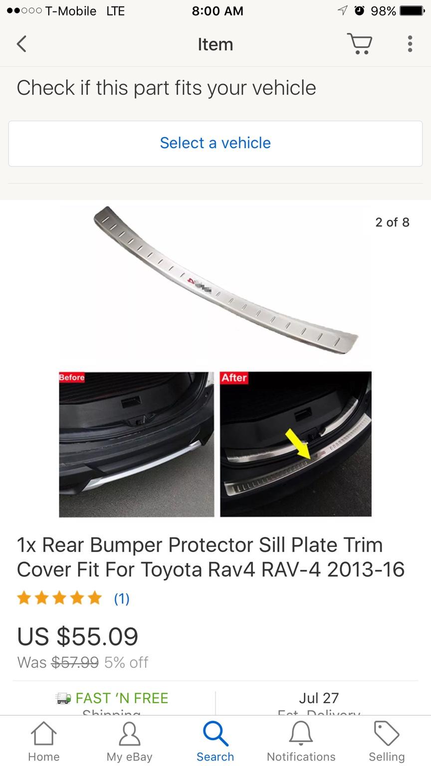 2013-2014  SOUTHEAST TOYOTA RAV4 REAR BUMPER PROTECTOR IN BLACK 00016-42025