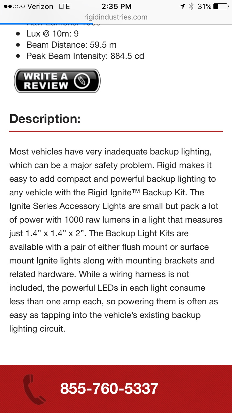 Installing Rigid Industries A Series As Reverse Wiring Lighting In Perhaps Im Wrong But It Looks Like The Backup Light Kit Includes Two Lights At 129 Does No Include