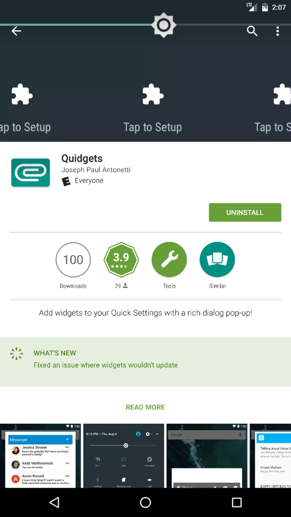 Quick setting tile widget app - Android Forums at AndroidCentral.com