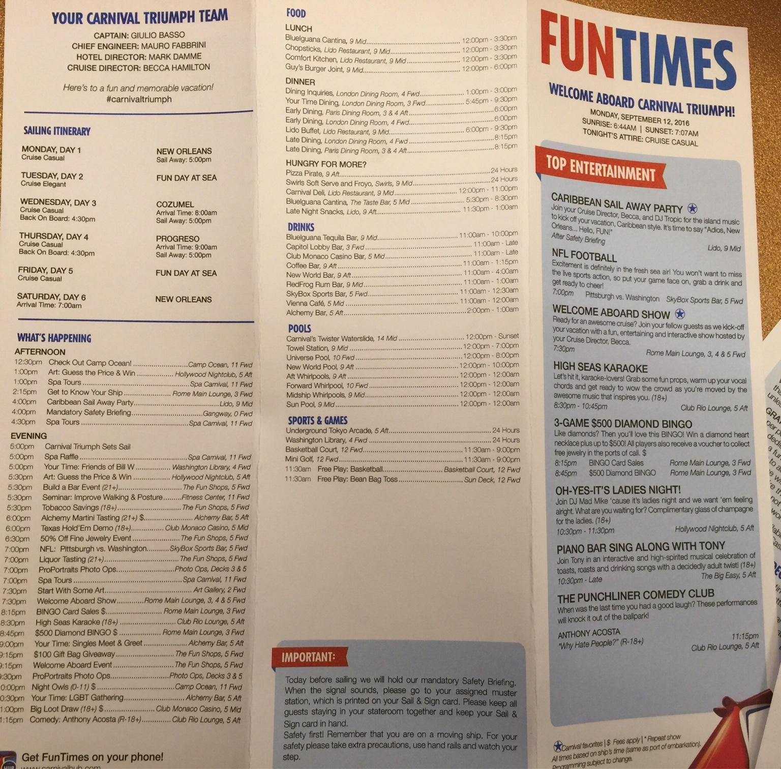 Carnival Triumph 5 Day Fun Times 9 12 9 17 Cruise