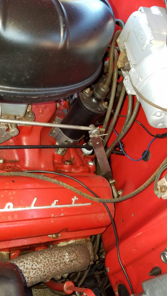 1957 Throttle linkage interference with spark plug wires