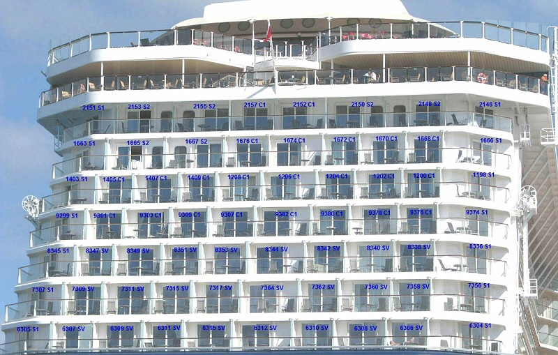Aft cabins on celebrity equinox shore