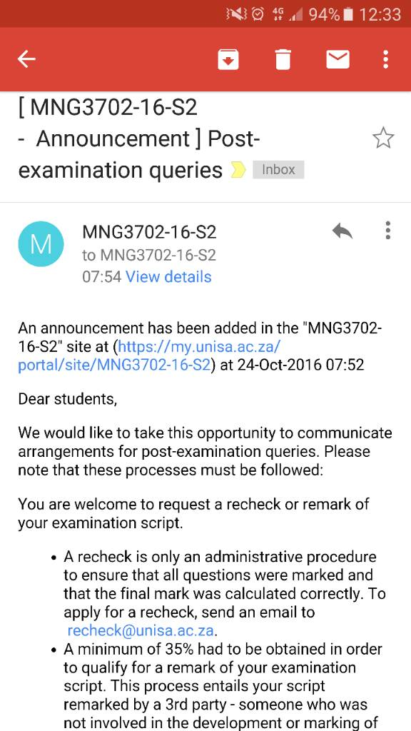 first time application at unisa