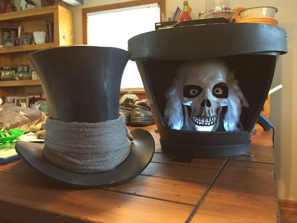 The top hat and Hatbox are done. & Halloween Hatbox Ghost Costume