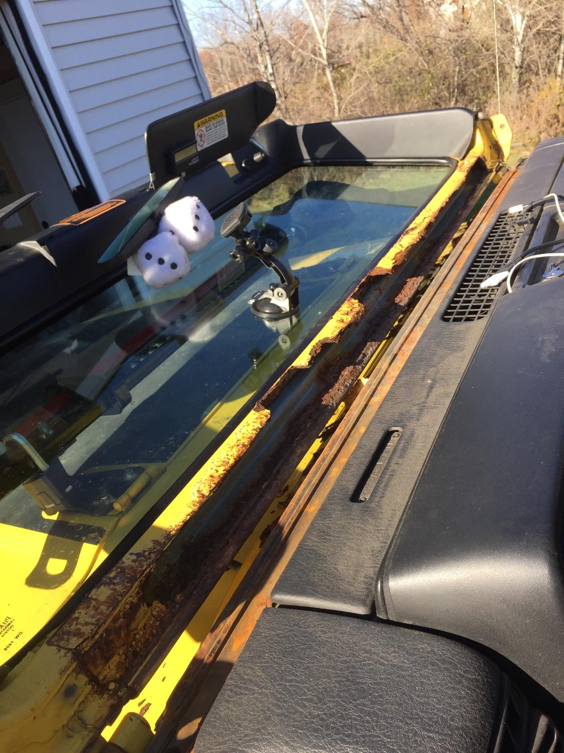 Bad interior rust under windshield - Jeep Wrangler Forum