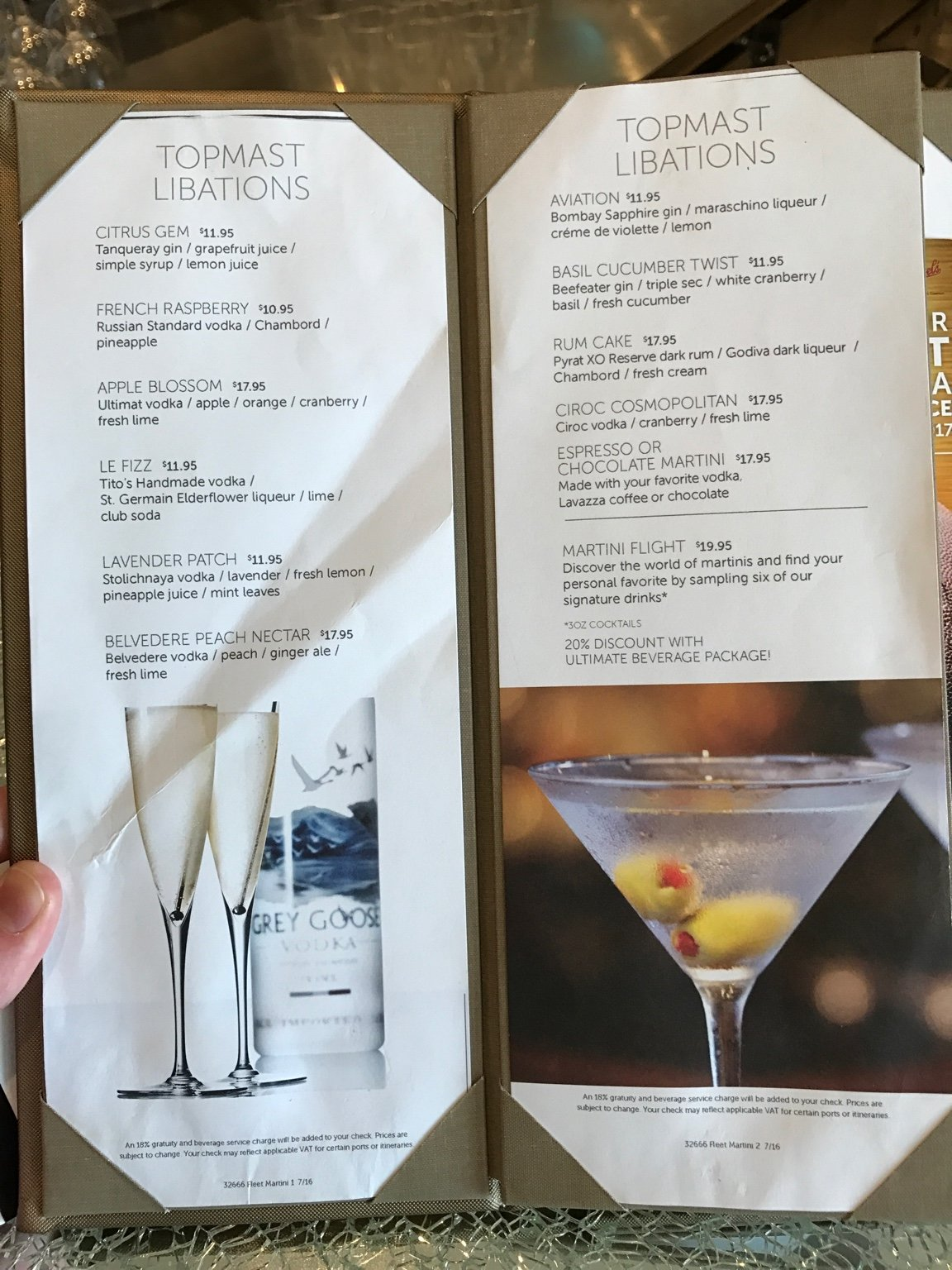 Ncl Breakaway Drinks And Menus Cruise Critic Message