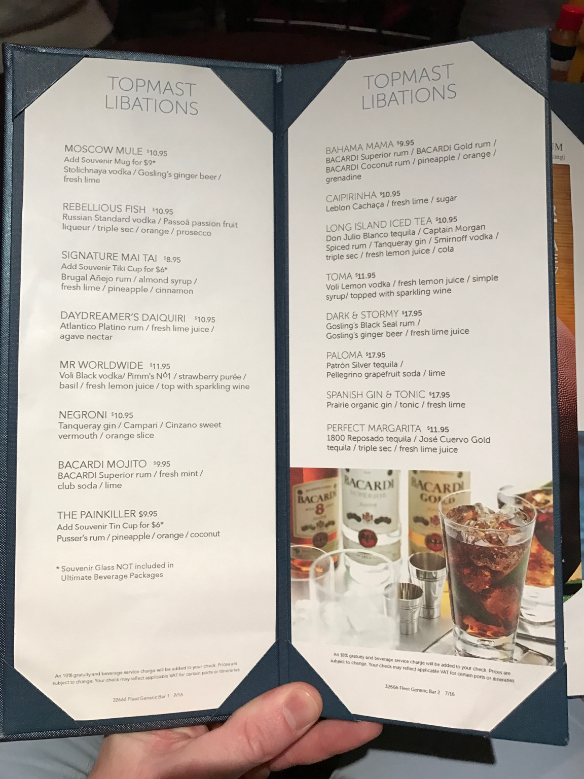 Ncl Breakaway Drinks And Menus