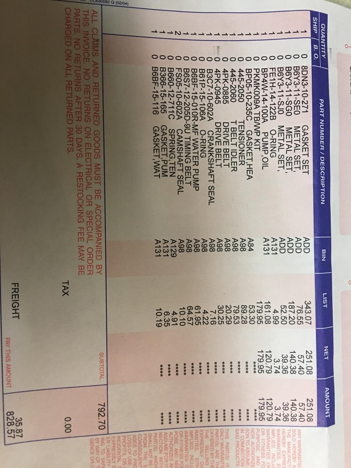 $495 to replace timing belt? - MX-5 Miata Forum