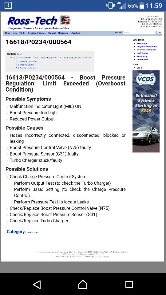 Van in limp mode with P0234 code - CADDY2K com
