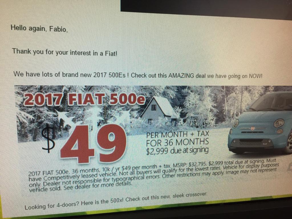 Fiat 500e lease deals