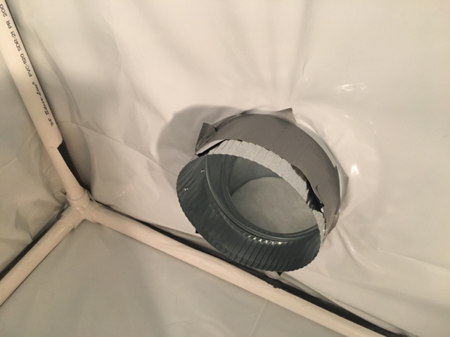 Elbow ducting on the intake to help with any potential light leaks & 4x4x6 DIY Tent | Grasscity Forums
