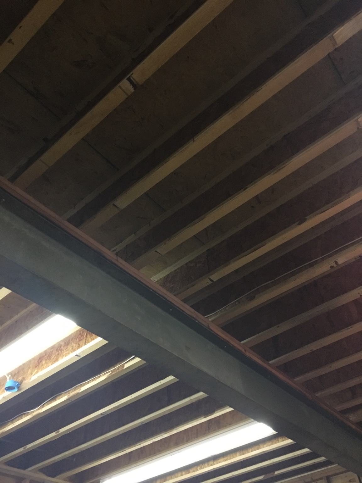 Here You Can See The Bare Joists There Are Also Two I Beams In This Garage But Do Not Believe They Will Cause An Issue As Would Install A Lift