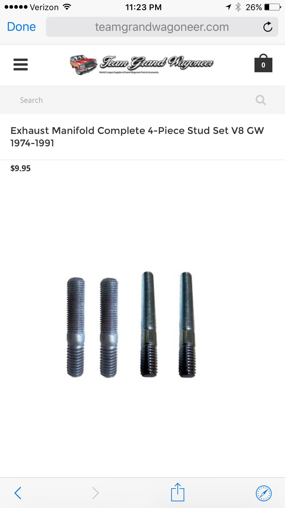 exhaust studs size