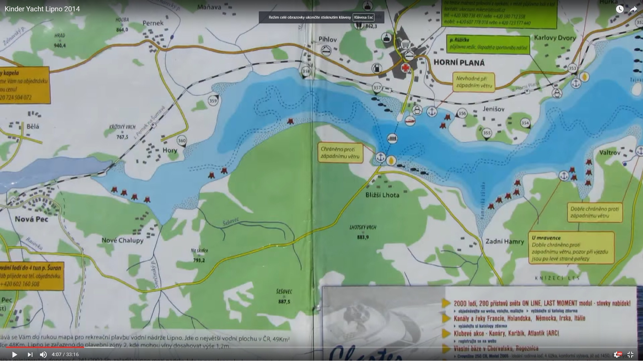 Mapa Vodni Nadrze Lipno Jachting Info