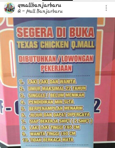 Lowongan Kerja Q Mall Banjarbaru