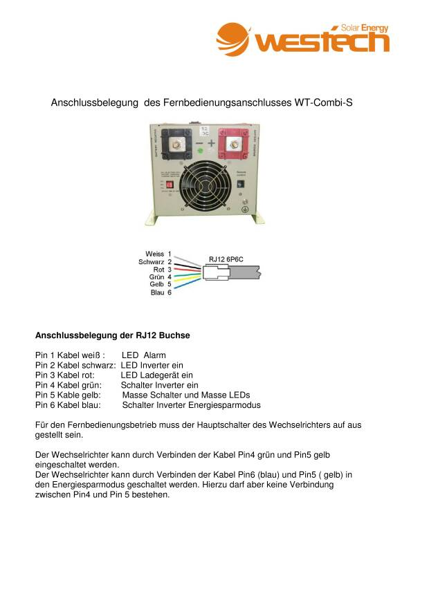 Westech Combi S Remote Steckerbelegung• Photovoltaikforum