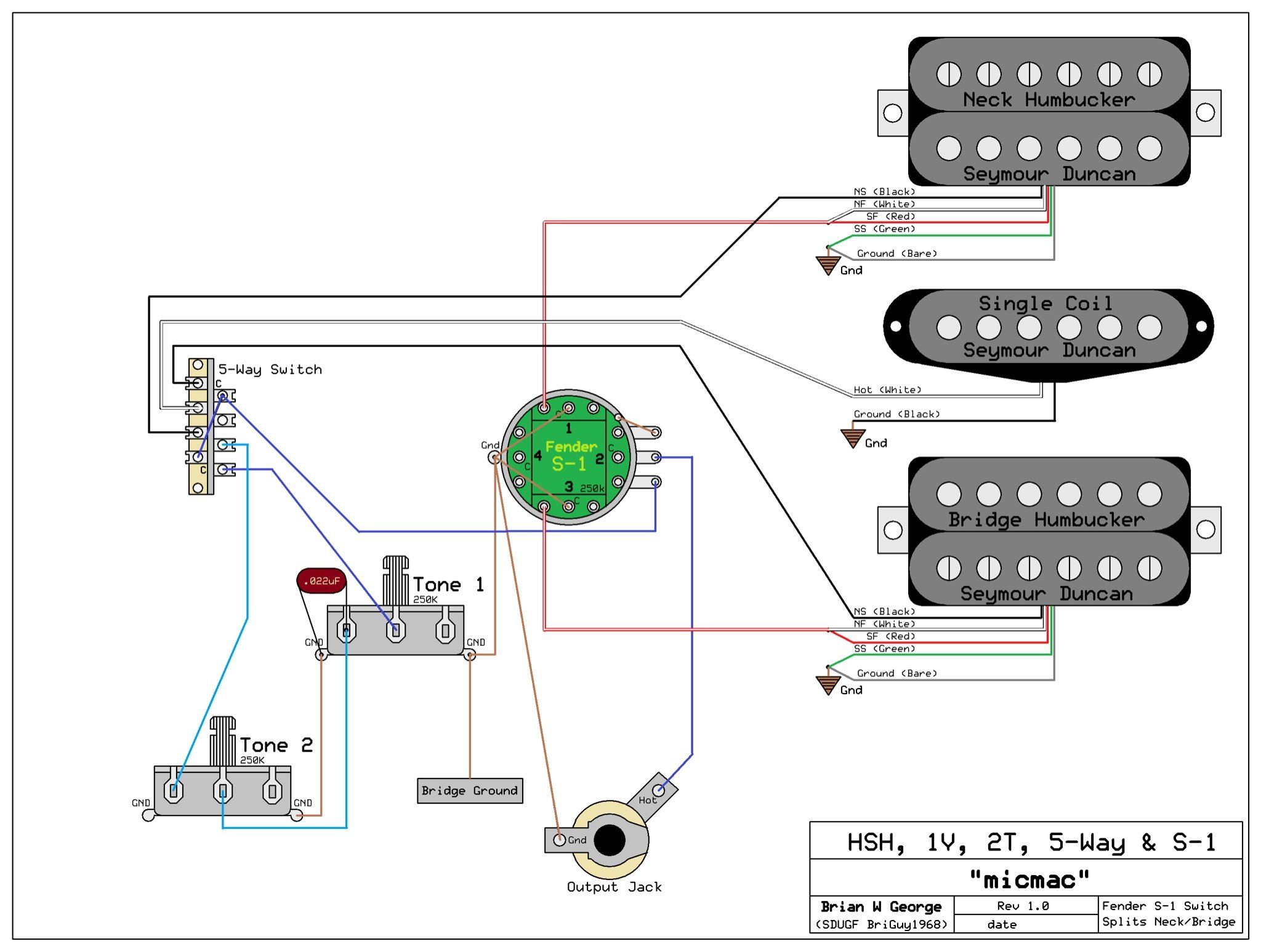 need wiring diagram for an hsh 1 volume 2 tone s 1 switch for volume please let me know if you have any questions and don t forget to come back and tell us how your project turned out not to mention just to hang out