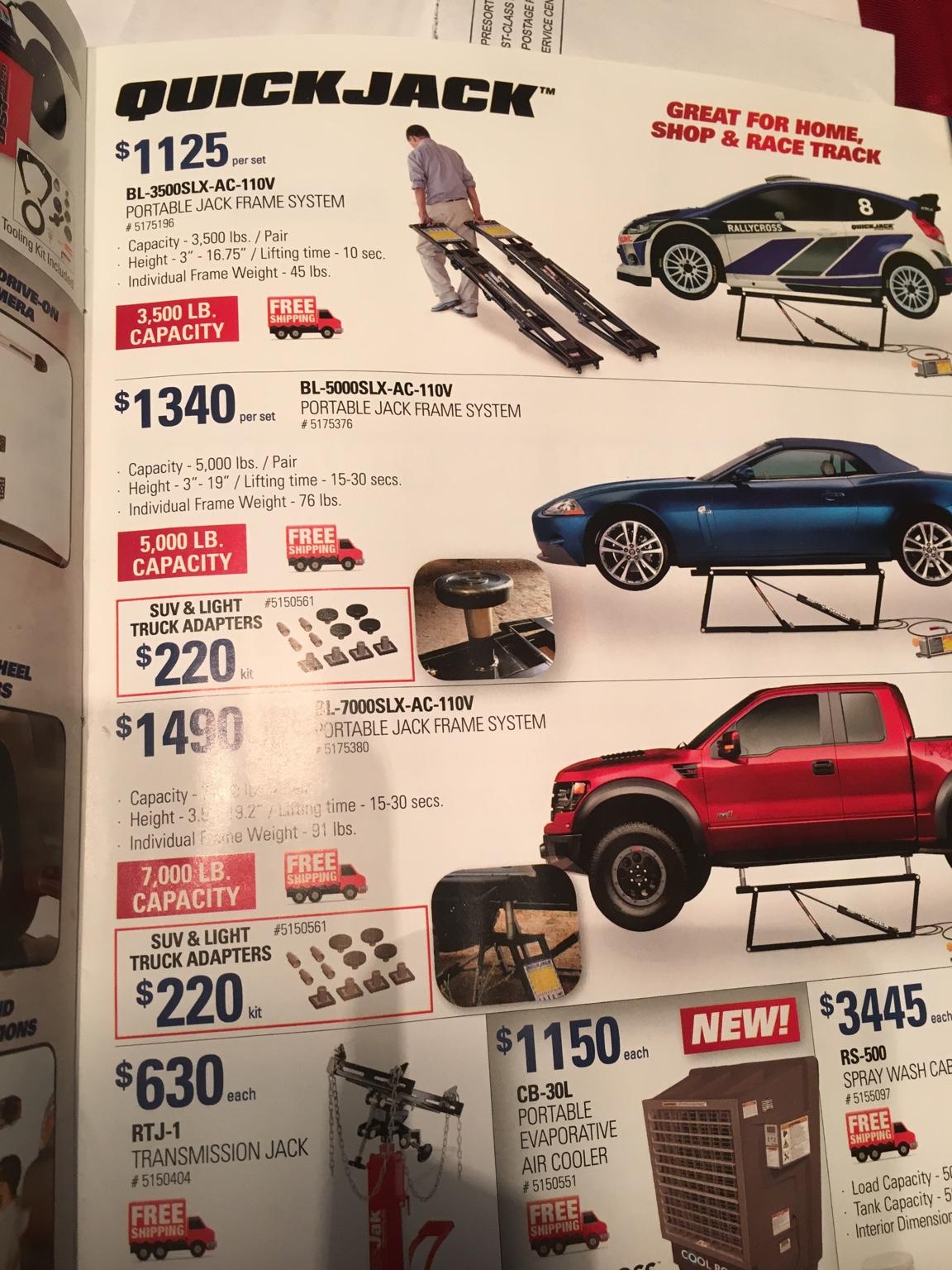 SUV /& Light Truck Adapter Kit QuickJack 5150561